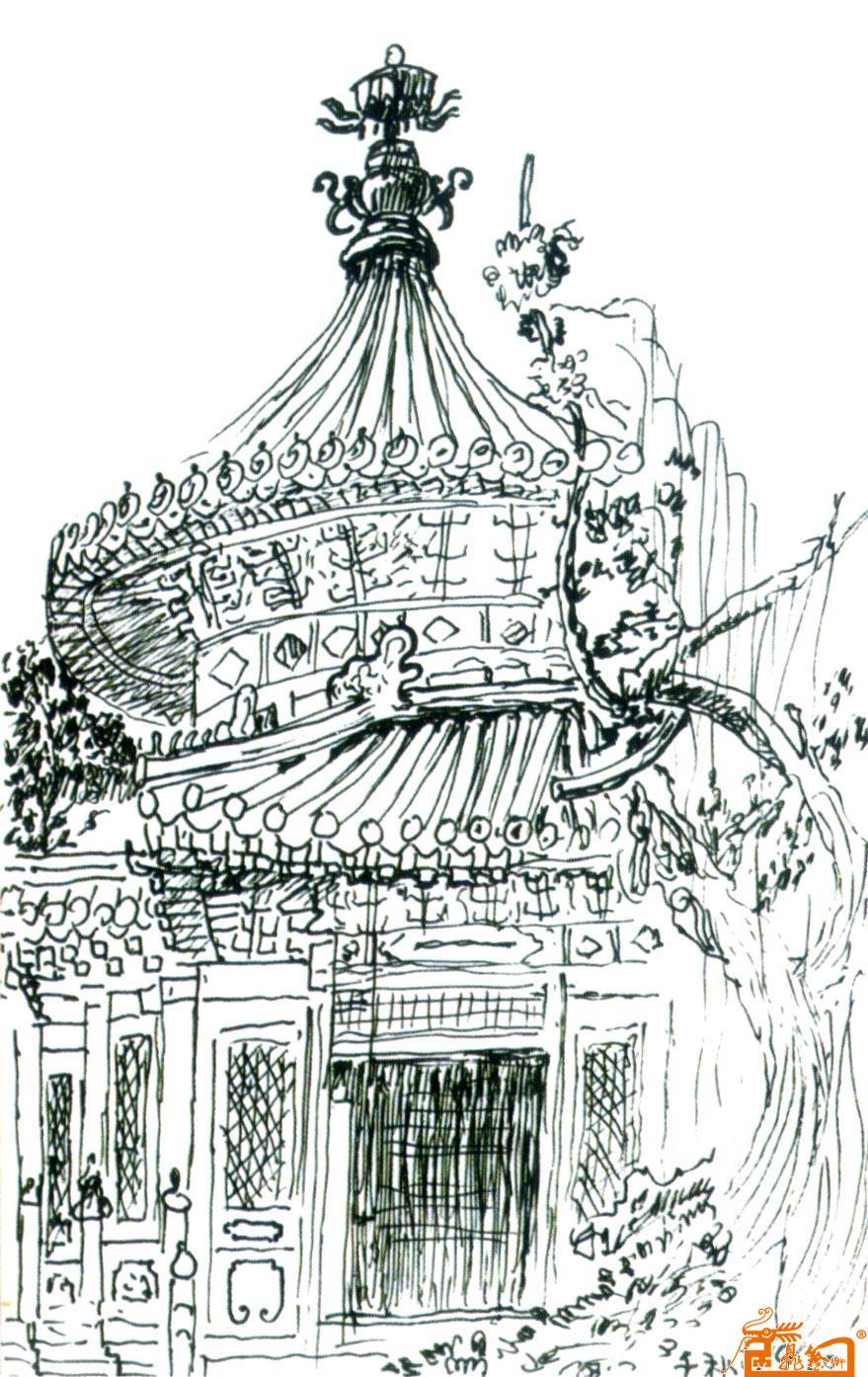 故宫建筑手绘图片